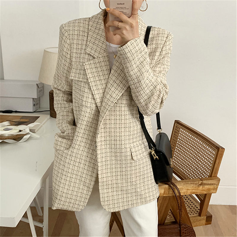 HziriP Office Ladies Plaid All Match Retro Stylish High Quality Vintage 2019 Chic Slender OL Full-sleeved Large Size Blazers