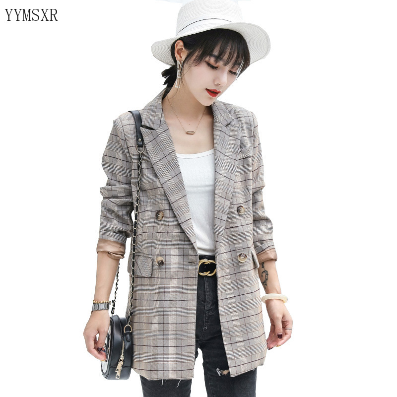 High quality women's blazer feminine small suit 2020 new spring and autumn casual checked women's mid-length jacket coat