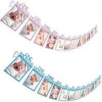 12 marco de fotos de meses Banner 1er adornos de feliz cumpleaños Primer Cumpleaños bebé niño niña fiesta un año cumpleaños decoración empavesado