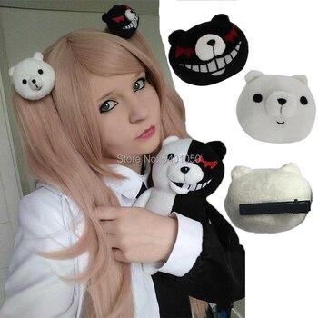 Nuevo 1 par Dangan Ronpa Danganronpa Clip para el pelo Junko Enoshima Mono Kuma Mono oso negro blanco Anime Cosplay regalo para chica