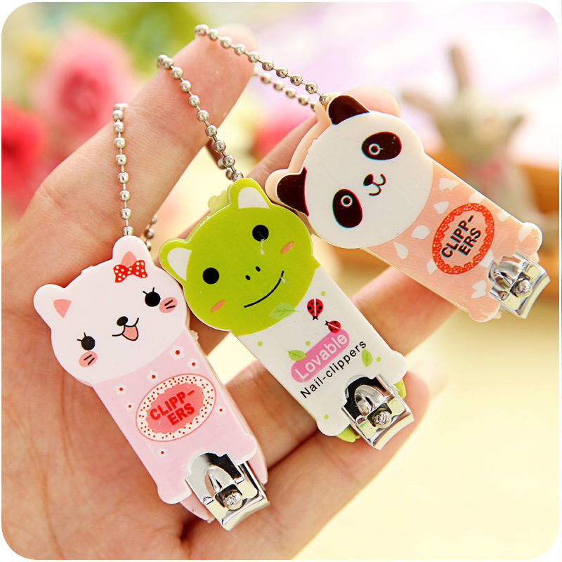 Cute Cartoon Animal Print Nail Clipper Baby Finger Trimmer Scissors Nail Cutter With Keychain