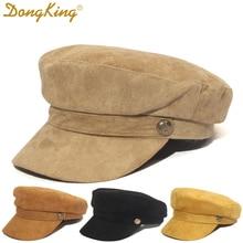Winter Women's Military Cap Autumn Suede Octagonal Cap Suede Flat Top Military Caps Navy Hats berets hat Top Quality Solid Cap