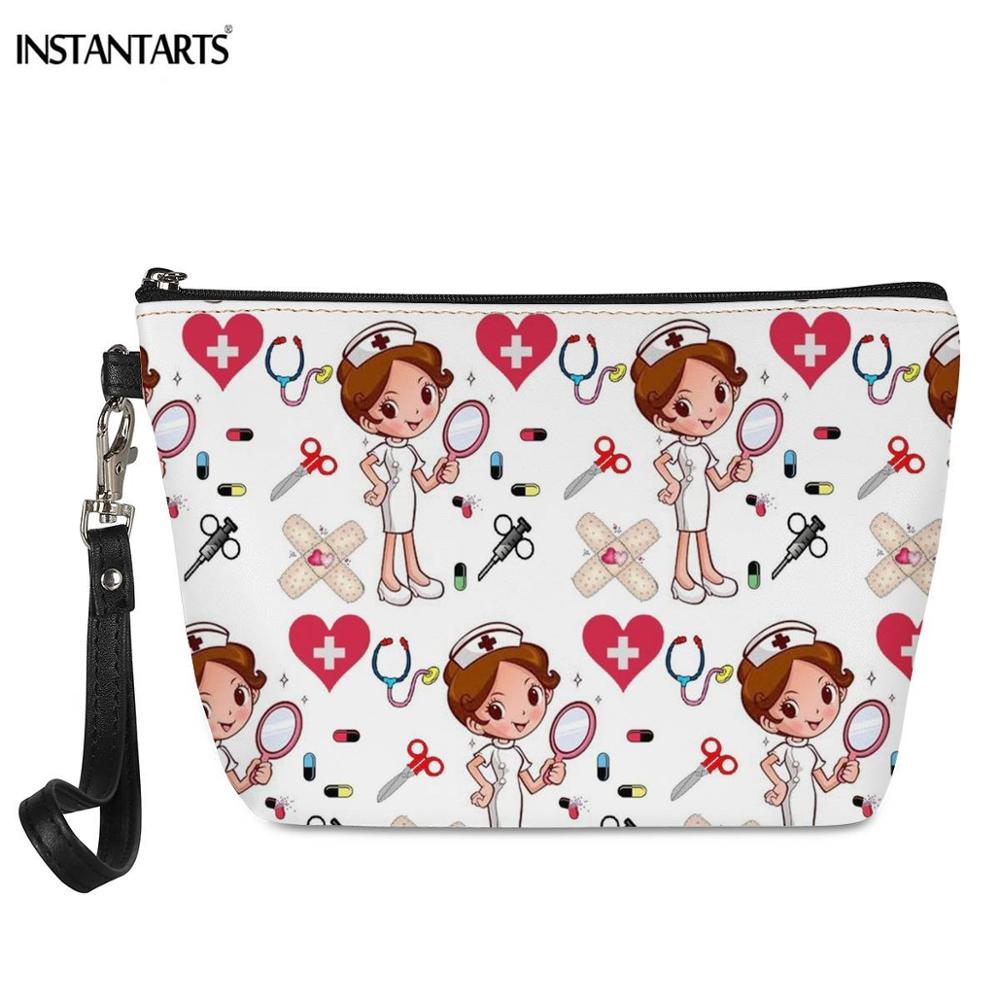 INSTANTARTS Hot Sale Nurse Printing Women Cosmetic Bags Lovely Casual Travel Portable Storage Handbags Makeup Bag Toiletry Bags