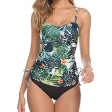 TYAKKVE Plus Size Swimwear Women Swimsuit Sexy Tankini Set Two-piece Suits Ruched Print Padded Bandage Bathing Suit Swimdress floral padded plus size swimdress