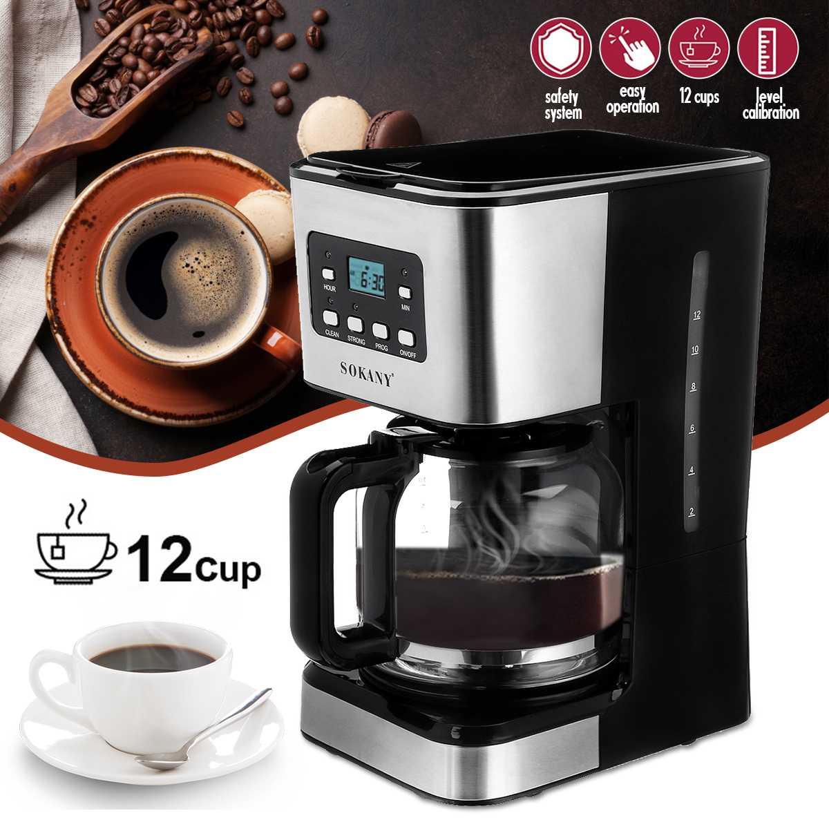 220V Coffee Machine 12 Cups For Espresso Cappuccino Latte Semi-Automatic Steam Coffee Maker Detachable Washable Coffeemaker
