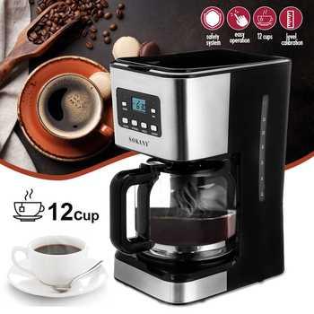 220V ekspres do kawy 12 filiżanek do Espresso Cappuccino Latte półautomatyczny ekspres do kawy parowej odpinany zmywalny ekspres do kawy tanie i dobre opinie becornce Z Wyświetlaczem 220 v Coffee Machine 950W