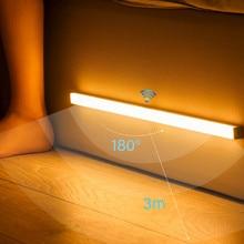 LED veilleuse capteur de mouvement sans fil USB Rechargeable 20 30 40 50cm lampe de nuit pour armoire de cuisine armoire lampe chambre lumière