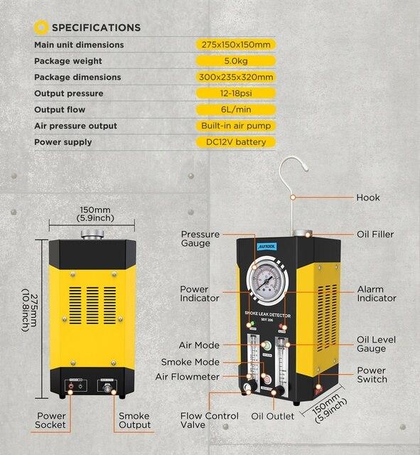 AUTOOL SDT206 Upgraded Car Smoke Leak Detector Locator 6L/Min DC12V Automotive Pipe Systems Leakage Diagnostic Smog Generator 6