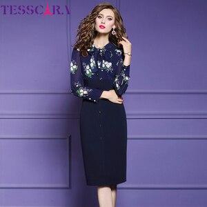 Image 3 - TESSCARA נשים סתיו אלגנטי עיפרון שמלת Festa נקבה משרד מסיבת גלימה באיכות גבוהה אימפריה מותן מעצב בציר Vestidos