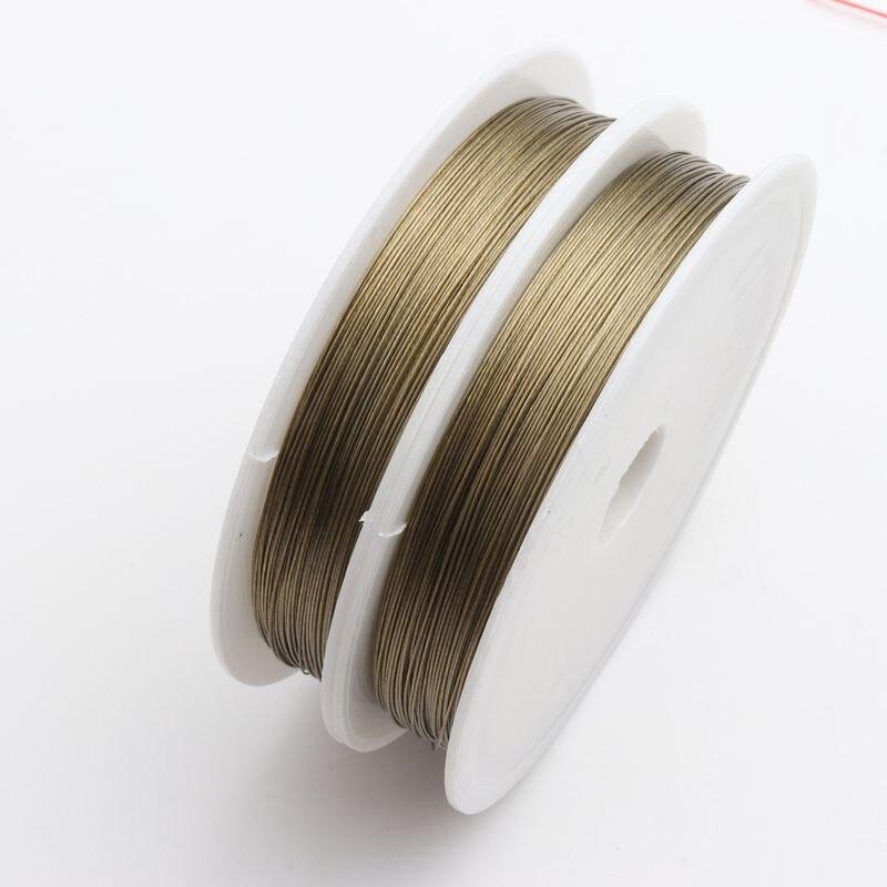 0,8 мм цвет серебристый, золотой представительского класса со стальным браслетом 1 рулон стали нити провода для ожерелий и браслетов Wireband цеп...