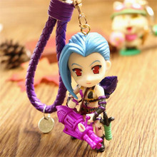 Game League of legendes Heroes Jinx Darts Weapon keychain LOL shark style keyring chaveiro key holder porte clef Souvenir(China)