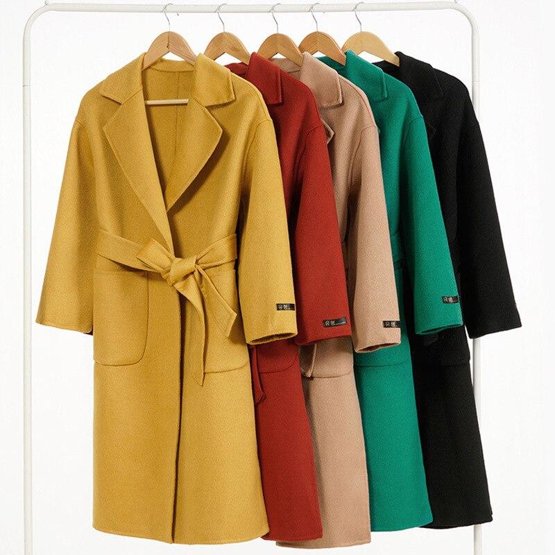 Women Long Coat Winter Wool Coats Korean Vintage Elegant Black Woolen Jacket