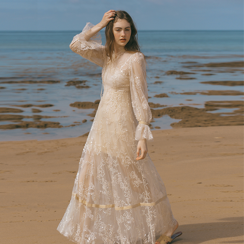 Original Design AIGYPTOS Women Dresses Spring Vintage Elegant Slim Long Dresses Translucent Sequin White Embroidery Mesh Dresses