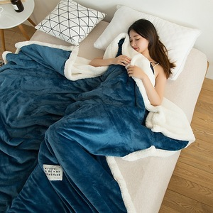 Image 1 - Couverture Raschel Super douce, polaire épaisse, en peluche, corail Double face, chaud pour lit, rose, café, gris