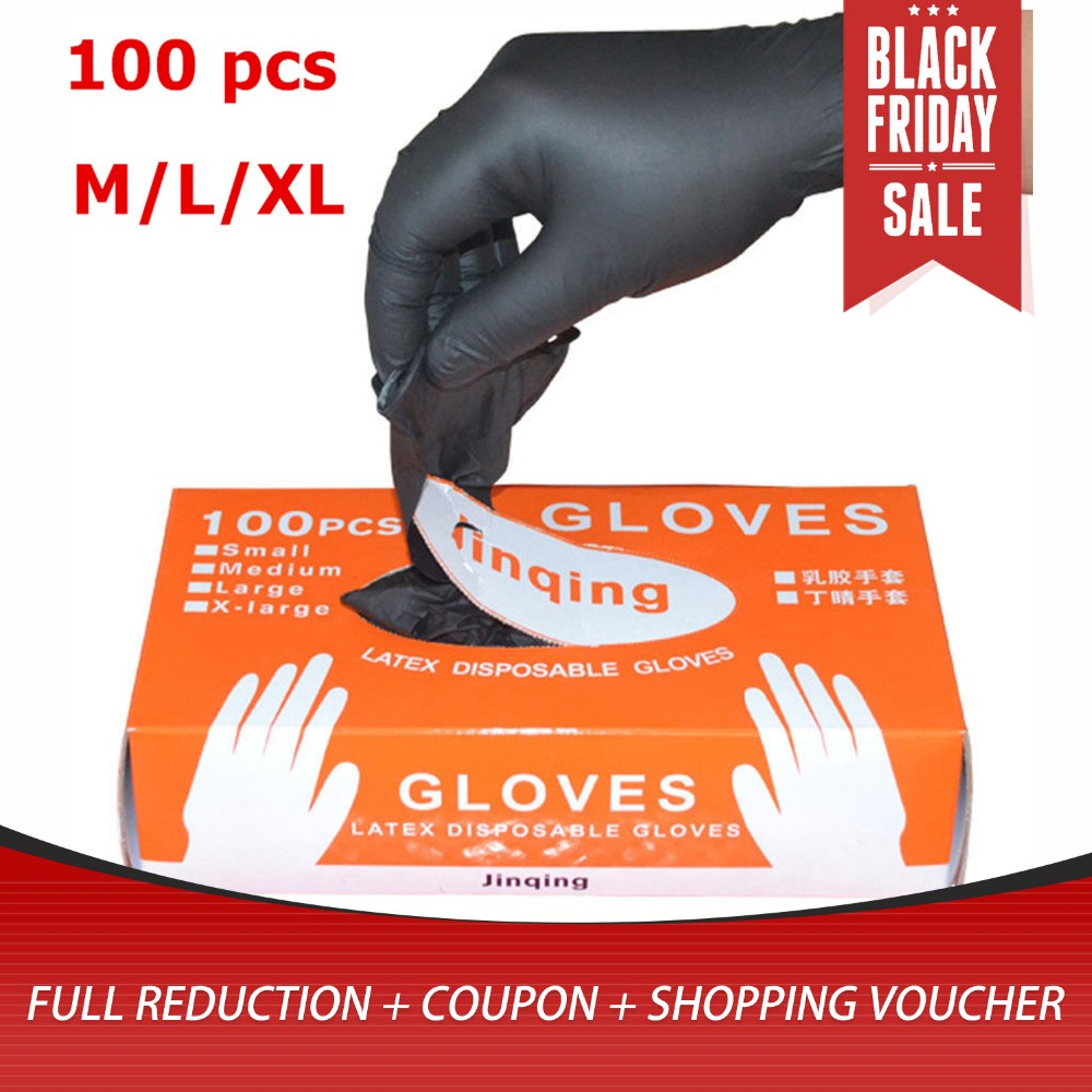 LESHP 100pcs/lot Mechanic Gloves Nitrile Gloves Household Cleaning Washing Black Laboratory Nail Art Anti-Static Gloves