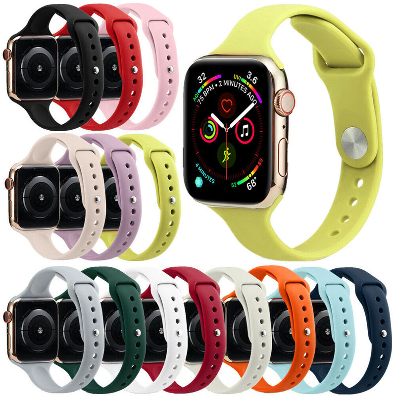 Watch Strap for Apple Watch 38mm 42mm 44mm 40mm IWatch 4 3 2 1 Sports Silicone Band Thin Bracelet Watch Accessories