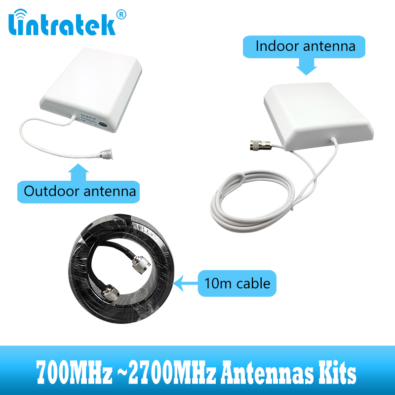 700~2700MHz 2G 3G 4G Antenna Kit For GSM LTE WCDMA Cellular Signal Booster Amplifier Antenna 10m Cable For Cellphone Repeater