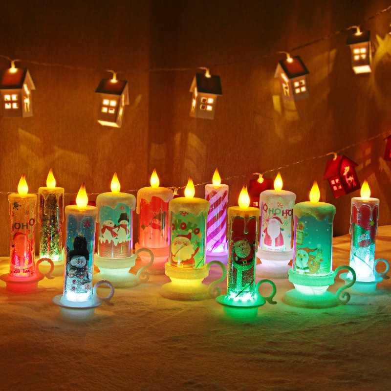 Рождественский светодиодный светильник в форме свечи, меняющий цвет, декоративные свечи без пламени, украшения для обеденного стола