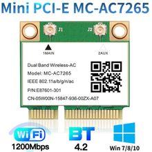 1200 Мбит/с Беспроводной MC-AC7265 Половина Mini PCI-E Wi-Fi карты Bluetooth 4,2 802.11ac Dual Band 2,4G Wi-Fi 5 ГГц адаптер для ноутбука, чем 7260HMW