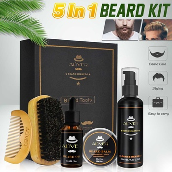 5Pcs/set Men Beard Growth Kit Hair Growth Enhancer Thicker Oil Nourishing Leave-in Conditioner Beard Grow Set with Comb 1