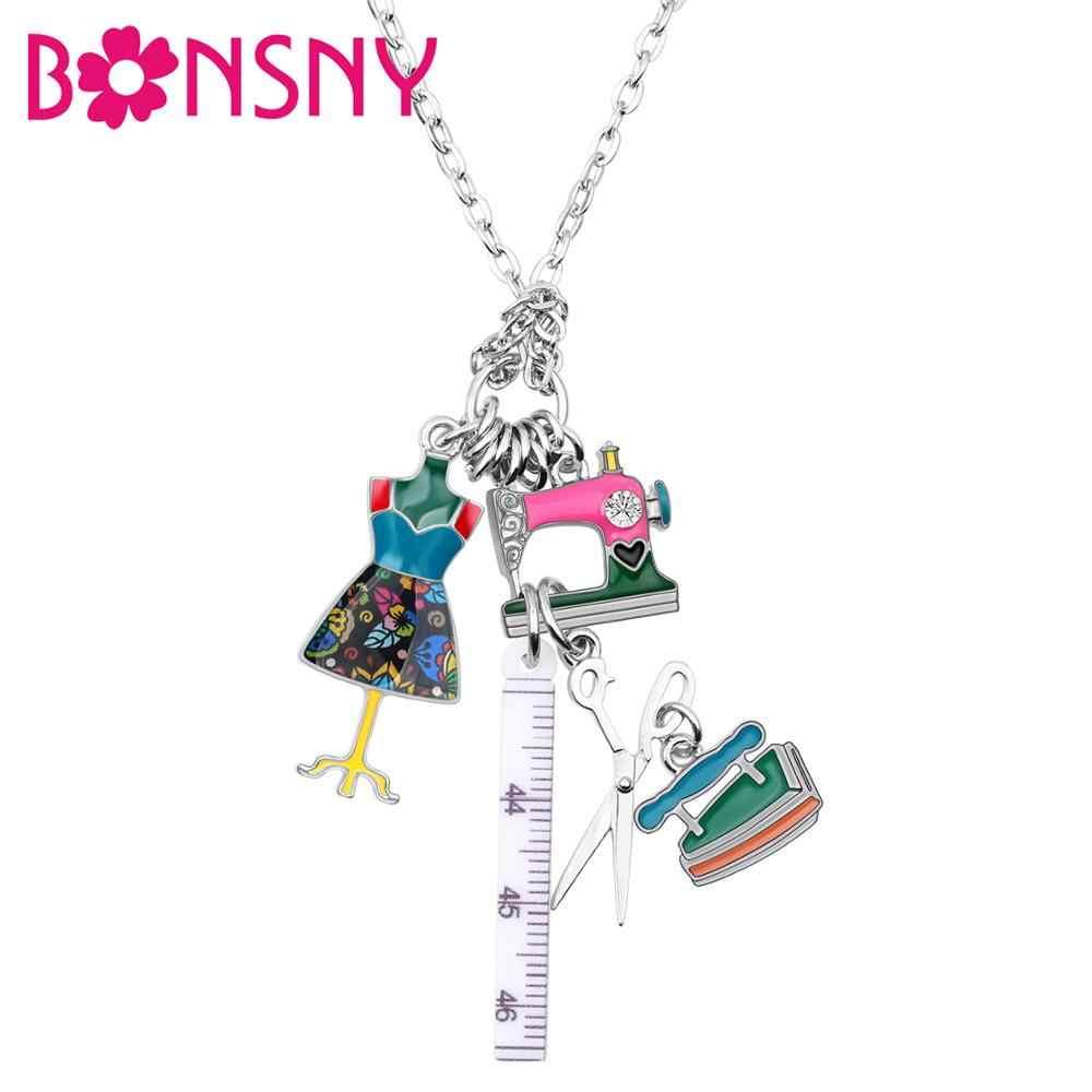Bonsny Statement โซ่เคลือบ Tailor จักรเย็บผ้ากรรไกรไม้บรรทัดขาตั้งเสื้อผ้าจี้สร้อยคอแฟชั่นเครื่องประดับสำหรับผู้หญิง