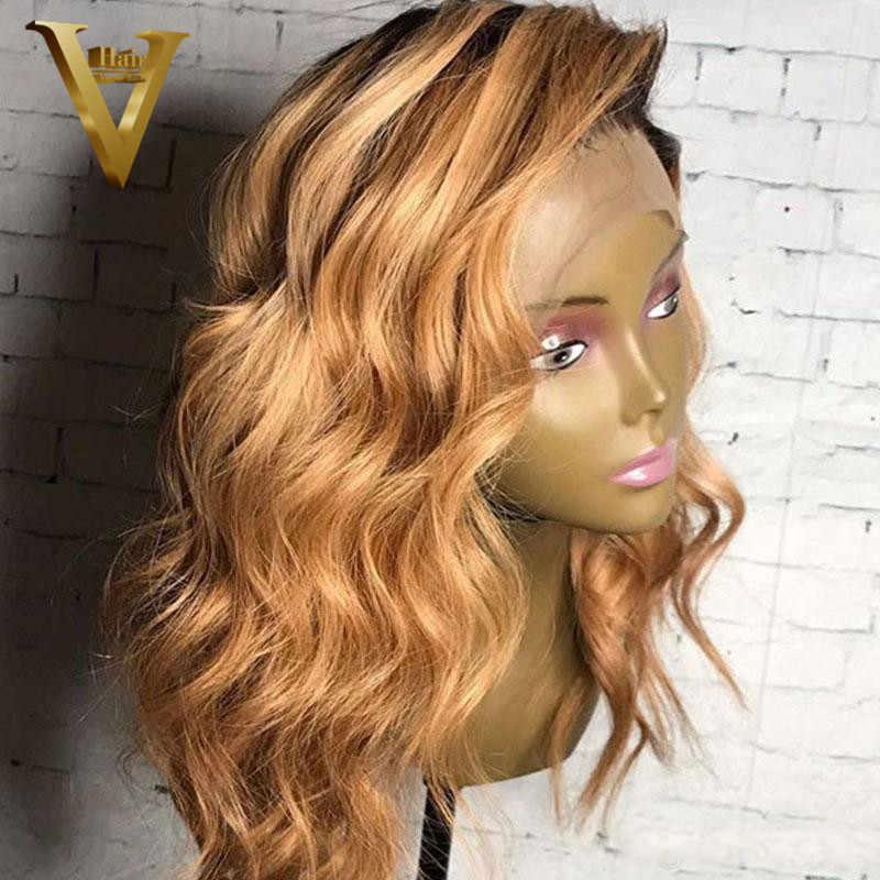 Ombre rubio miel Peluca de encaje Frontal, pelucas de cabello humano brasileño Remy 13x6 Bob corto pelucas de encaje Frontal para mujeres 360 Peluca de encaje Frontal 150