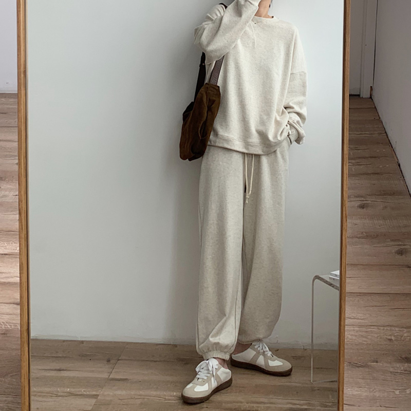 Spring and Autumn Women's Casual Solid Color Round Neck Long Sleeve Loose Sweatshirt + High Waist Sports Pants Set