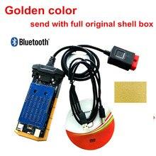 Golden color obd obd2 scanner 2016.0 keygen bluetooth for delphis vd  for cars and trucks as mvd diagnostic tool