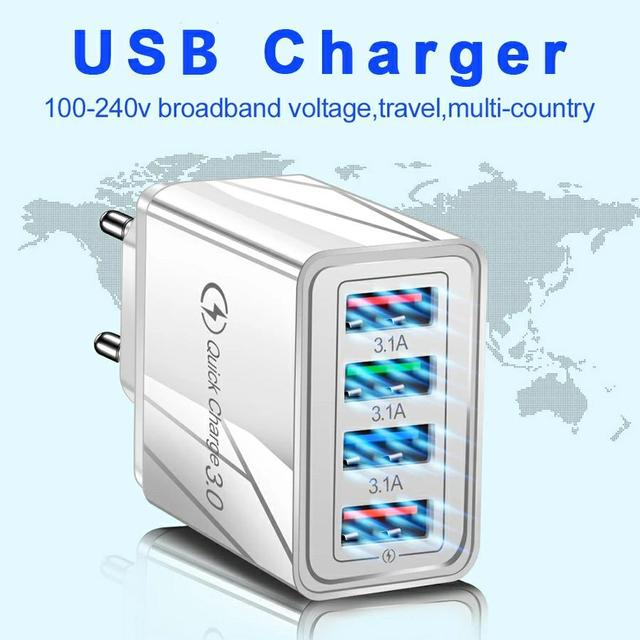USB Charger Quick Charge 3.0 Fast Charging Charger Phone Adapter 36W Portable Wall Mobile Phone Charger EU US UK Plug For Tablet