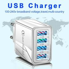 Usb Charger Quick Charge 3.0 Fast Charging Oplader Telefoon Adapter 36W Draagbare Muur Mobiele Telefoon Oplader Eu Ons Uk plug Voor Tablet