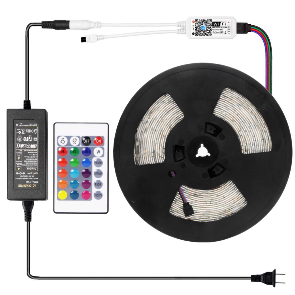 15M WiFI LED bande lumière RGB bande Diode néon ruban tira fita SMD5050 30M Flexible lumière chaîne avec adaptateur de contrôleur WiFI