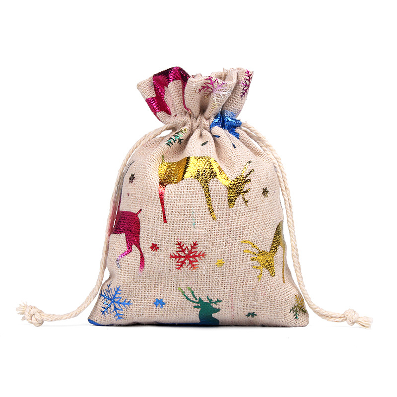 Image 5 - 50pcs 10x14 13x18cm Burlap Christmas Gift Bag Jewelry Packaging Bags Wedding Party Decoration Drawable Bags Sachet Pouches 55-in Gift Bags & Wrapping Supplies from Home & Garden
