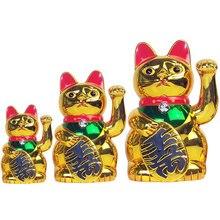 Chinese Lucky Cat Wealth Waving Hand Gold Maneki Neko Cute Home FengShui Decor Welcome Craft Art Shop Hotel Decoration