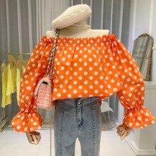 Polka Dot Vintage Women Blouse Off Shoulder Slash Neck Flare Sleeve Crop Top Moda Mujer 2020 Ropa Long Sleeve Blouse