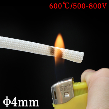 ID 4mm Chemical Fiberglass Tube High Temperature 600Deg.C Braided Wire Cable Sleeve Insulated Flame Resistant Soft Pipe White automobile engine diesel tube high pressure pipe high temperature resistant oil pipe nylon braided rubber hose