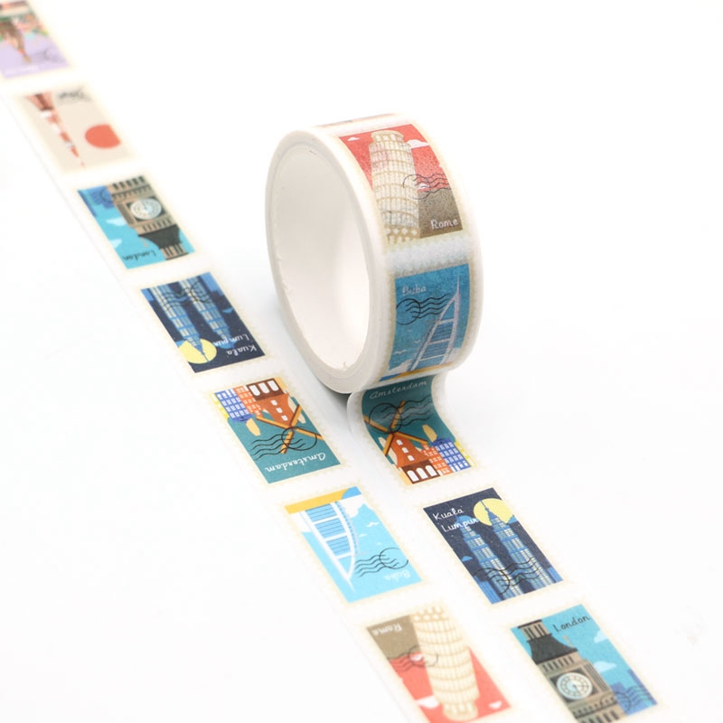 NEW 1pc Beautiful Landmark Stamps Washi Tape Kawaii Scrapbooking Tool Adhesive Masking Tape Photo Album Diy Decorative Tape