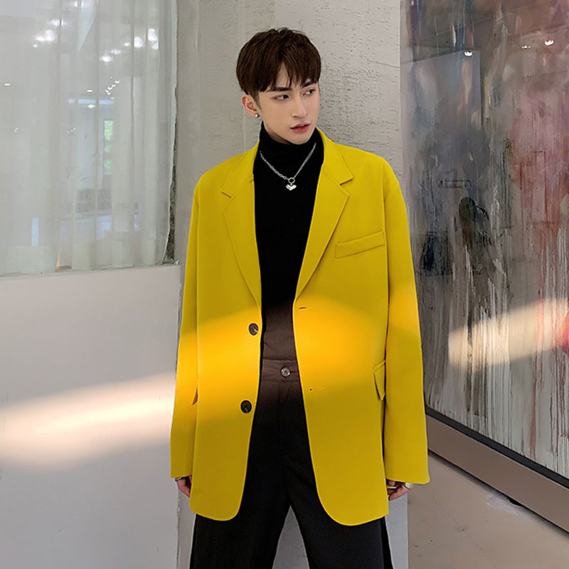 Men Vintage Fashion Yellow Casual Blazer Suit Jacket Overcoat Male Women Streetwear Loose Suit Coat Outerwear Couple Clothes