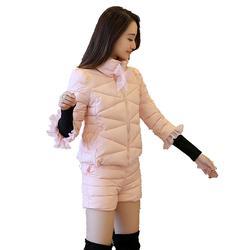 Модный новый теплый хлопковый женский костюм зимний толстый длинный рукав строчка стоячий воротник куртка повседневные шорты костюм из 2