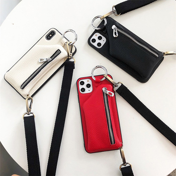 PU Leather Strap Cord Coin Purse Phone Cases for iPhone XR X XS 11 PRO MAX 6 6S 7 8 PLUS SE Crossbody Neck Lanyard Wallet Cover