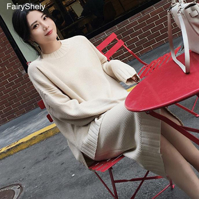 FairyShely 2019 Winter Women Knitted Pullovers Sweater + Two Piece Split Midi Skirt Set Casual Warm 2 Piece Set Matching Outfits
