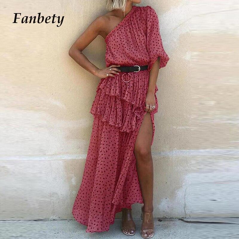 Sexy One Shoulder Irregular Party Dress 2021 Summer Dot Print Chiffon Beach Dress Women Elegant Short Sleeve Ruffle Long Dresses