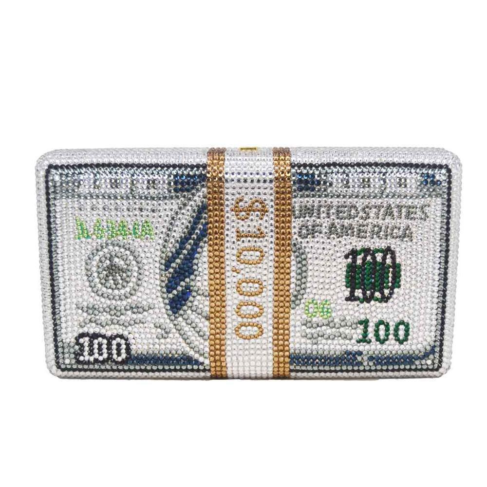 Mode nouveau Design Unique argent 100 Dollars pierre cristal femmes soirée sac à main petite boîte en métal chaîne épaule sacs cadeau sac à main