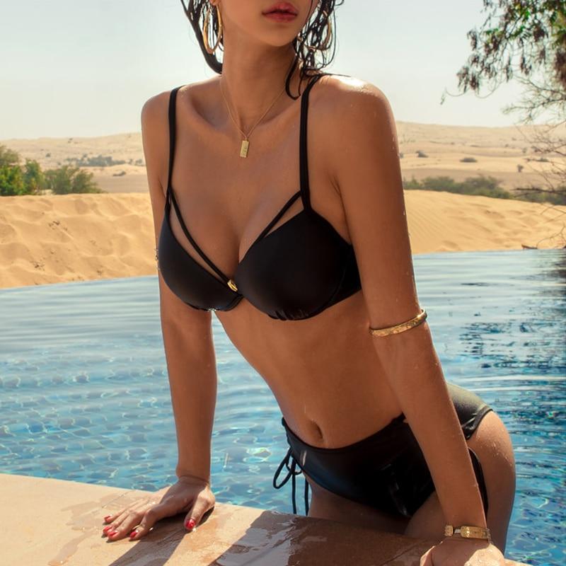 Female Swimsuits 2020 New Bikini Swimwear Women Swim Suit Solid Sexy Two Pieces Backless Bathing Suit Girl Red Bikini 3