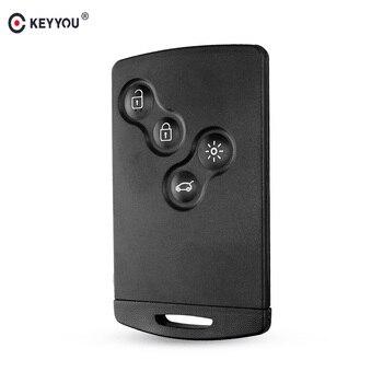 Carcasa de llave Original KEYYOU, 4 botones para Renault Laguna Koleos Megane, funda de llave de tarjeta inteligente remota con inserto de llave pequeña|Llave de coche|Automóviles y motocicletas -