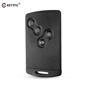 KEYYOU Original Key Shell 4 Buttons For Renault Laguna Koleos Megane Fob Remote Smart Card Key Case WIth Insert Small Key Blade(China)
