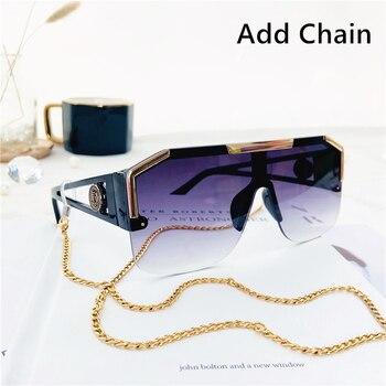 2021 New Fashion Big Square Sunglasses Men Style Gradient Trendy Driving Retro Brand Design Sun Glasses UV400 Wholesale Dropship - C7 BlaDouGray Chain