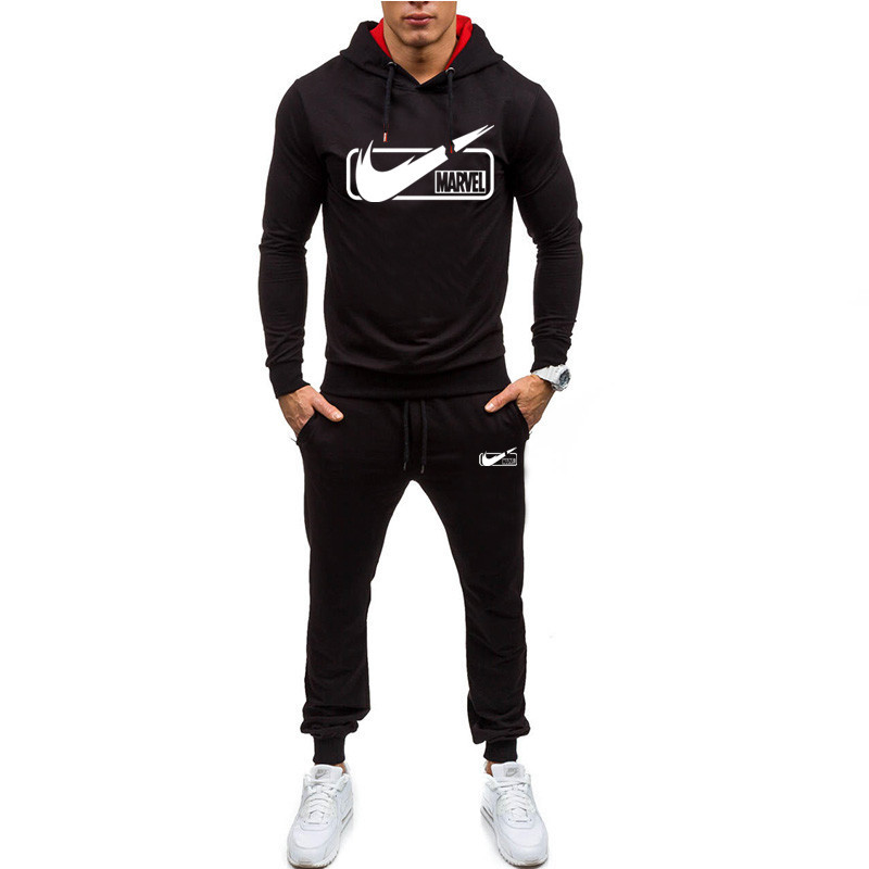 New Brand Tracksuit 2019 Fashion Hoodies For Men Sportswear Two-piece Sets Thin Section Hooded  + Pants Sports Suit For Men