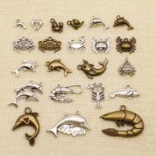 1 Piece Wholesale Jewelry Lots Animal Crab Shrimp Sea Animal Dolphin Seal Charms HJ064(China)
