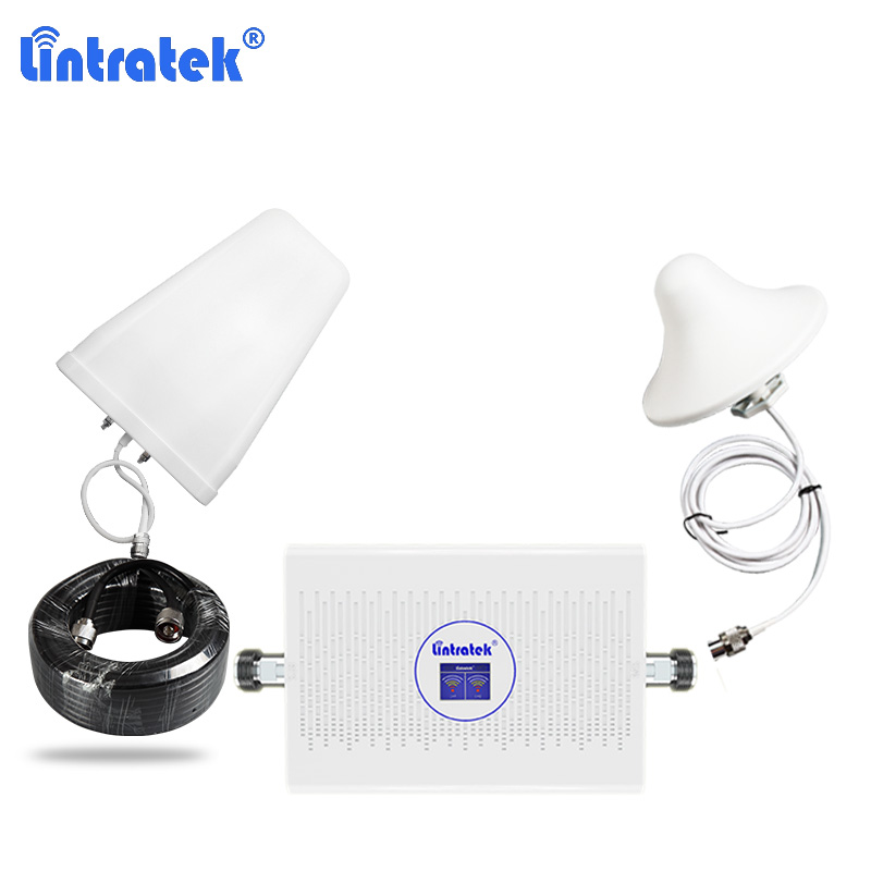Lintratek 2g 4g Cellular Signal Booster Agc Alc Dcs 1800 4g Internet Amplificador Cell Phone Repeater Kit Band 3 900+1800mhz 50