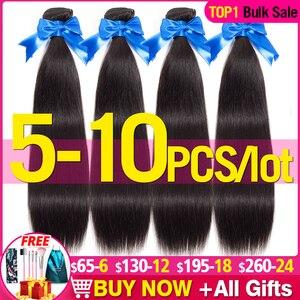 5-10 пряди ков/Лот, оптовая цена, бразильские прямые волнистые волосы, 100% натуральные человеческие волосы без повреждений, натуральные черные...